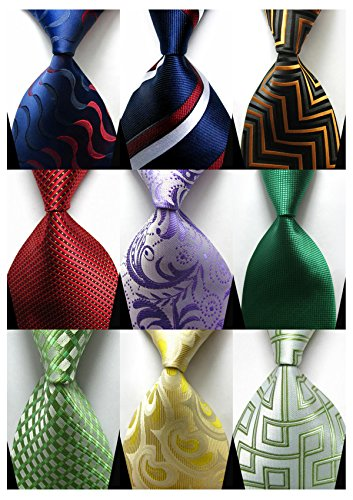 YanLen Lot 9 PCS Classic Men's 100% Silk Tie Necktie Woven JACQUARD Neck Ties (Set 4)