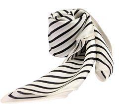 100% Silk Scarf Neckerchief Small Square Print Scarves Women (Stripe White)