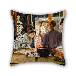 Pillow Covers Of Oil Painting Robert Frederick Blum – The Silk Merchant, Japan 18 X 18 Inc ...