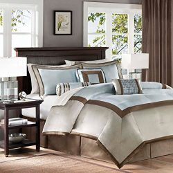 Madison Park Genevieve Cal King Size Bed Comforter Set Bed In A Bag – Auqa, Taupe, Pieced  ...