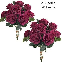 DALAMODA 2 Bundles (with total 20 heads) Red Wine Rose Flower Bouquet, for DIY any Decoration Ar ...