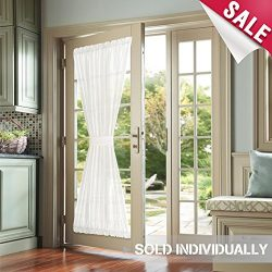 Privacy French Door Panels White Curtains for French Doors Faux Silk French Door Curtains 72 inc ...