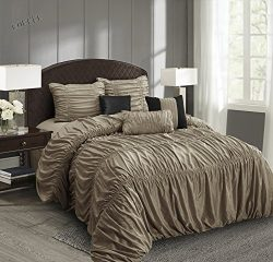 EverRouge Mia All Season Silk 7-piece Comforter Set (Choice Color and Size) (Brown, King)