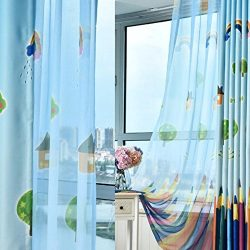Domybest Rainbow Pencil Pattern Sheer Tulle Window Curtain(Silk Weave)