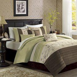 Madison Park Serene Duvet Cover Full/Queen Size – Green, Embroidered Duvet Cover Set – 6 P ...