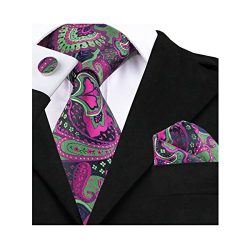 Barry.Wang Green and Purple Silk Ties for Men Hanky Cufflink Set