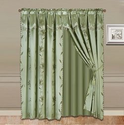 GorgeousHomeLinen 8-Piece Sage Green Nada Luxury Faux Jacquard Flower Design Panel, Rod Pocket W ...