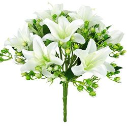 Felice Arts Artificial Flowers 9 Heads Natural Silk Artificial Lillies Flowers for Wedding Bouqu ...