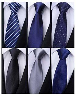 Weishang Pack of 6 Men's Classic Tie Silk Necktie Woven Jacquard Neck Ties (Set 11)