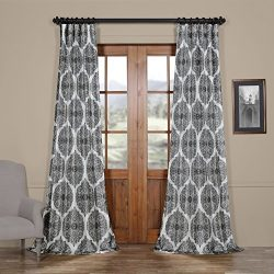 HPD HALF PRICE DRAPES Ptpch-170805B-120 Royal Printed Faux Silk Taffeta Blackout Curtain, 50 x 1 ...