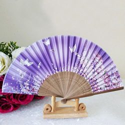 Pattern Folding Dance Wedding Party Lace Silk Folding Hand Held Flower Fan ,Tuscom (#7)