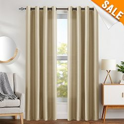 Faux Silk Dupioni Window Curtains for Living Room 95 inches Long Satin Grommet Curtain Panels fo ...