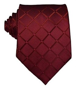 Scott Alone : New Classic Checks Jacquard Woven Silk Men's Tie Necktie (Dark Red)