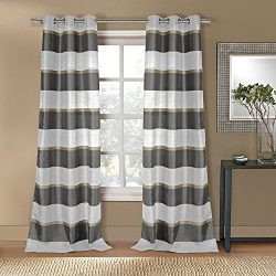 Duck River Textiles THQGT=12/11389 Faux Silk Stripe Grommet Pair Panel (2 Piece), 38″ x 10 ...