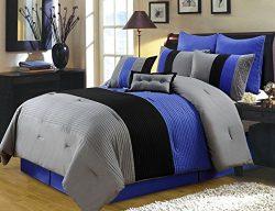 Chezmoi Collection 8 Pieces Luxury Striped Comforter Set (Full, Gray/Black/Blue)
