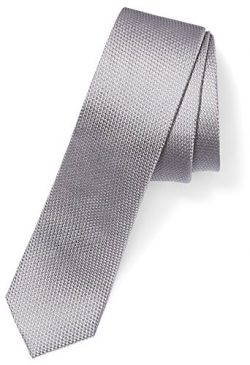 Buttoned Down Men's 100% Silk Skinny Tie, Silver Texture, X-Long