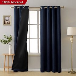 Deconovo Total Blackout Curtains Navy Blue Grommet Thermal Insulated Room Darkening Faux Silk Sa ...