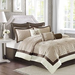 Madison Park Juliana King Size Bed Comforter Set Bed In A Bag – Beige, Quilted Floral – 9  ...
