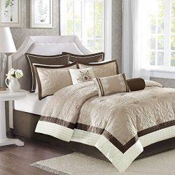 Madison Park Juliana King Size Bed Comforter Set Bed In A Bag – Beige, Quilted Floral – 9  ...