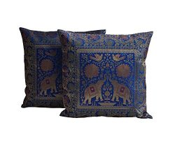 My Craft Palace Handmade Bird & Elephant Cushion Cover Unique Embroidered Silk Home Decorati ...
