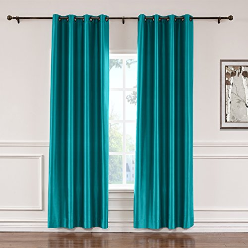 ChadMade Elegant Vintage Polyester Cotton Silk Solid Curtain Peacock 100″ W x 96″ L, ...