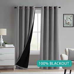 Turquoize Full Blackout Lined Curtains Grey Faux Silk Satin with Thick Black Liner Window Treatm ...