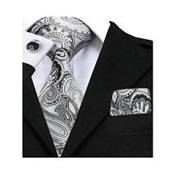 Barry.Wang Grey Ties Business Party Necktie and Handkerchief Set