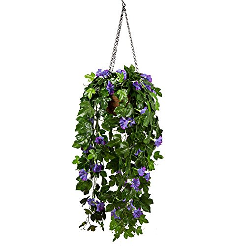 Mixinie Artificial Morning Glory Plant, Artificial Hanging Basket Flowers Decorative Silk Flower ...