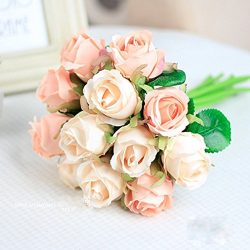 Miracliy Artificial Flower, Fake Floral Rose Silk Flower 12 heads Hand Tied Bouquet Home Hotel O ...