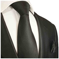 Black Silk Men's Tie and Pocket Square by Paul Malone