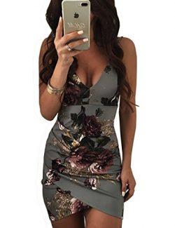 VintageRose Womens Spaghetti Strap Open Back Floral Print Bodycon Dress Gray XL