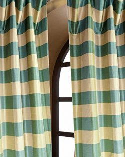 Faux silk dupioni checks lined rod pocket curtain/panel (52″W X 96″L)