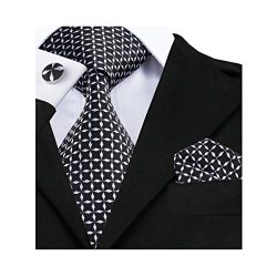 Hi-Tie New Classic Black Novelty Checks Woven Silk Tie Necktie Hanky Cufflinks set