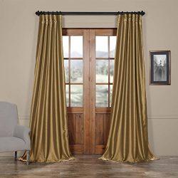 HPD HALF PRICE DRAPES Half Price Drapes PTCH-JTSP206-120 Faux Silk Taffeta Curtain, Gold Nugget