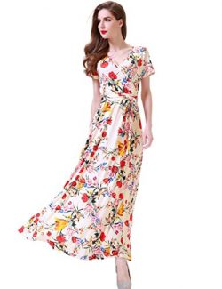Melynnco Women's Vintage Floral Faux Wrap V Neck Short Sleeve Maxi Dress Large Apricot