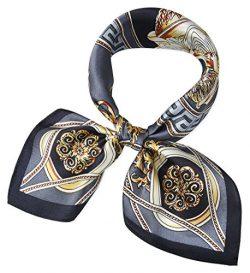 corciova Women 100% Mulberry Silk Neck Scarf Small Square Scarves Neckerchiefs Grey Lion Design