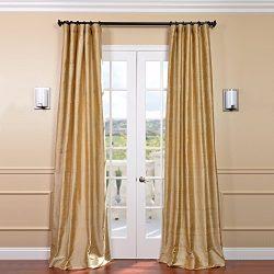 HPD HALF PRICE DRAPES Half Price Drapes DIS-ID15-84 Biscotti Textured Dupioni Silk Curtain, Yellow