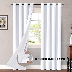 H.VERSAILTEX White Blackout (2 Layers) Curtains Elegant Extra Long Lined Faux Silk with Blackout ...