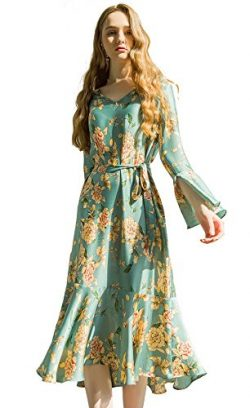 Escalier Womens Floral Print Dress Casual Bell Sleeve Swing Dresses with Belt