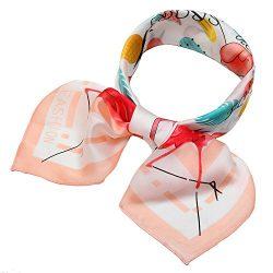 Silk Scarf Square Satin Headscarf Fashion Pineapple Neck Hair Scarves for Women Orange