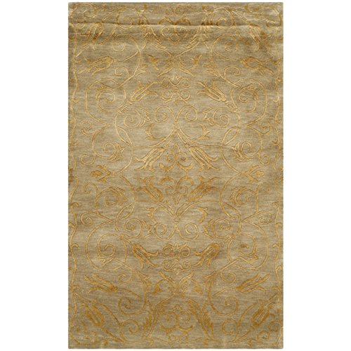 Safavieh Tibetan Collection TB317B Hand-Knotted Green and Gold Silk & Wool Area Rug (3′ ...