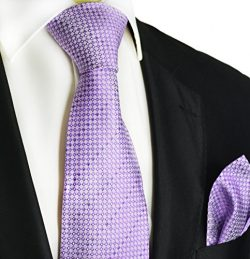 Purple Polka Dots Paul Malone Silk Tie and Pocket Square Set