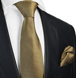 Extra Long Frosted Almond Silk Men's Tie and Pocket Square by Paul Malone