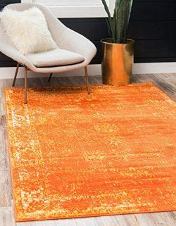 Unique Loom Sofia Collection Traditional Vintage Orange Home Décor Area Rug (8′ x 10′)