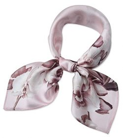 100% Real Mulberry Silk 21″ Women's Square Scarfs Scarves Pale pink Phalaenopsis Pattern