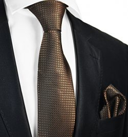 Brown Silk Men's Tie and Pocket Square by Paul Malone