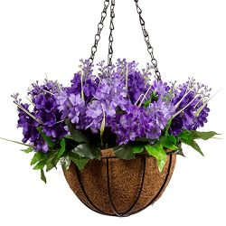 Mixinie Lavender Artificial Hanging Flowers, Artificial Hanging Planets Silk Flower, Hanging Bas ...
