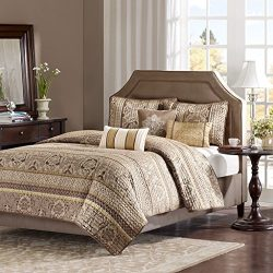 Madison Park Bellagio King Size Quilt Bedding Set – Brown, Jacquard Damask – 6 Piece Beddi ...
