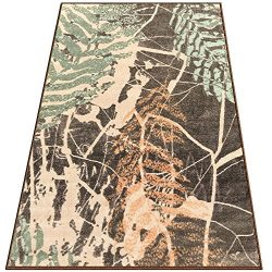 Silk & Sultans Agathe Collection Vintage Green Design, Pet Friendly, Non-Slip Area Rug with  ...