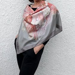 Square Silk Scarf Hand Painted and Printed Pink Beige Grey Big Floral Rose Designer Art Silk any ...